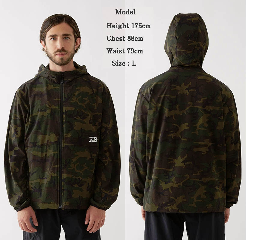 DAIWA DJ-93009 STRETCH FULL ZIP HOODY GREEN-CAMOUFLAGE-XL(October Debut)_Image1