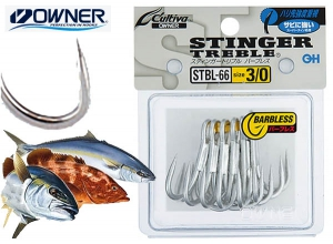 OWNER STINGER TREBLE STBL-66 #1 BARBLESS