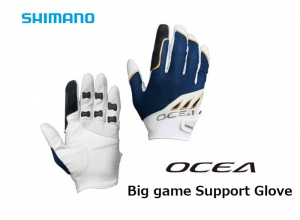 SHIMANO OCEA Big Game Support Glove White Navy-L